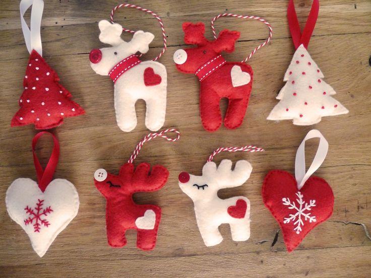 Christmas felt ornaments (heart, reindeer, tree) by Les Boutiqueuses (décorations de Noël en feutrine : cœur, renne, sapin)