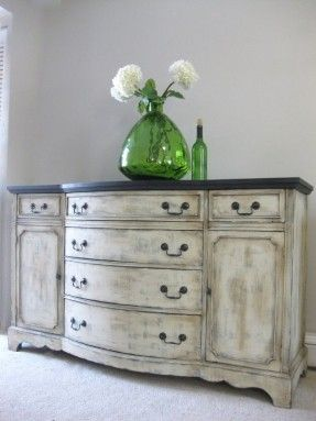Hand painted dresser in antique style. It is mounted on carved legs and equipped with 6 drawers and 2 side cabinets for storing clothes and other necessities. Elegant addition to any interior according to personal taste and needs.