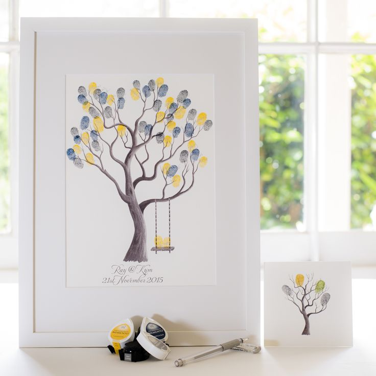 Walnut + swing B&W guest book for Wedding, funeral or other celebration. Illustrated by Ray Carter - The Fingerprint Tree® Made-to-order, ships worldwide. The Fingerprint Tree®, bespoke gifts you'll treasure!