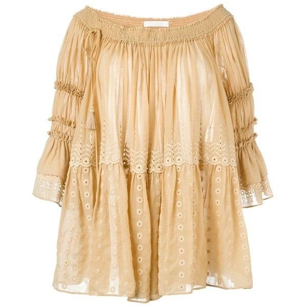 Chloé Smocked Voile Blouse ($1,784) ❤ liked on Polyvore featuring tops, blouses, drape top, smock tops, chloe blouse, embroidered top and drapey top