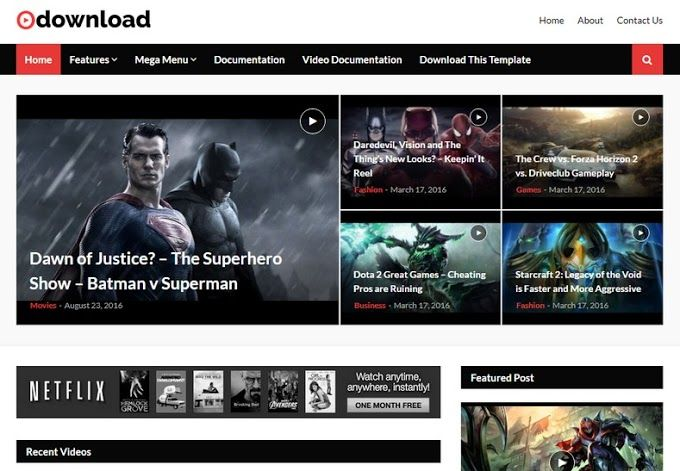Video Download Blogger Template Is A Creative Blogger Video Theme Suitable For All Types Of Videos Film Blogger Templates Free Blogger Templates Video Template