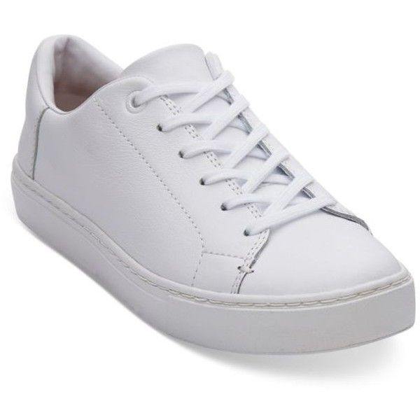 Toms  White Leather Women's Lenox Sneaker ($98) ❤ liked on Polyvore featuring shoes, sneakers, white, leather sneakers, white leather sneakers, white lace up sneakers, toms sneakers and leather lace up sneakers