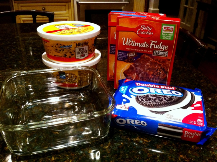Slutty Brownies - interesting name.  Chocolate chip cookie dough, double stuff Oreo cookies, brownie mix.  Sound delish!