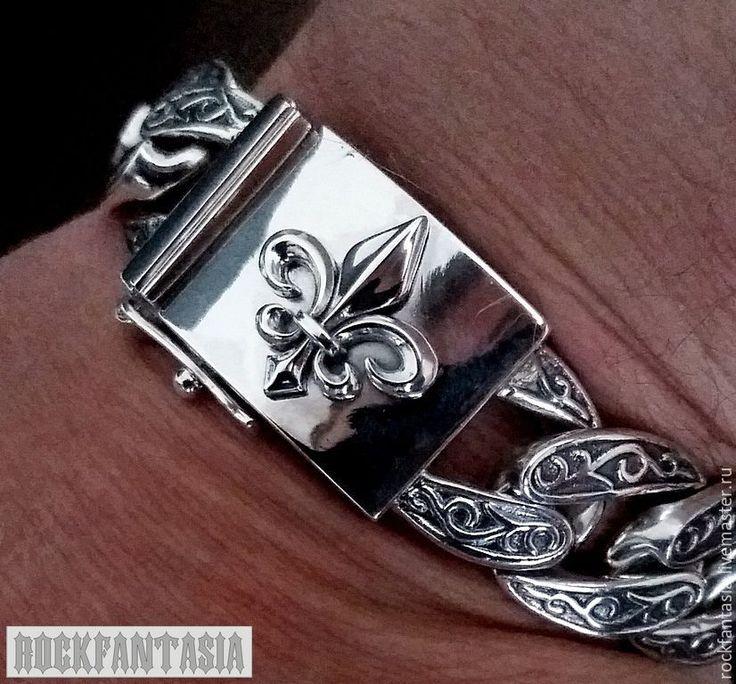 Купить Серебряный мужской браслет Королевская лилия флер де лис - серебряный браслет