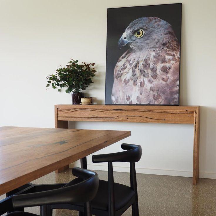 Custom Bombora dining table made with matching console from stunning recycled Messmate timber #bomboracustomfurniture #bespokefurniture #moderndiningroom