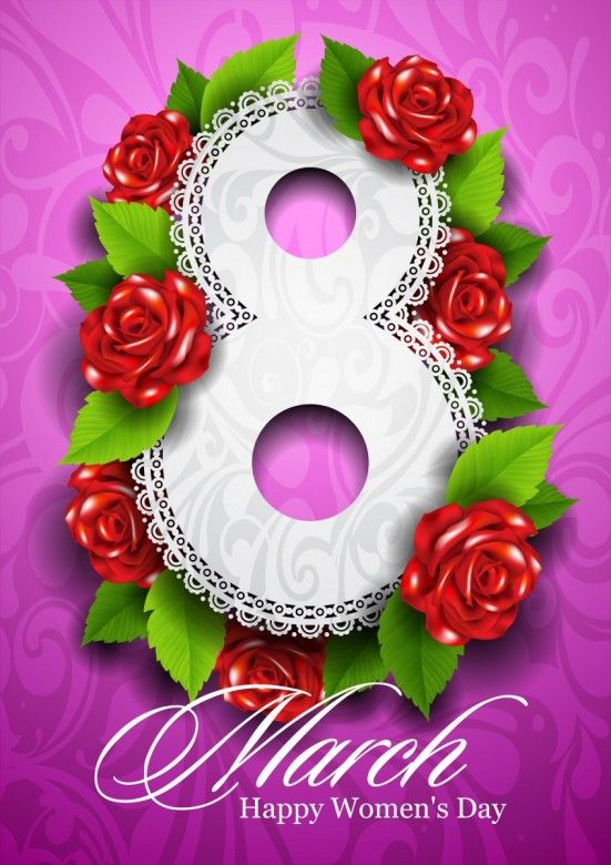8 March. Happy Womens Day greeting card