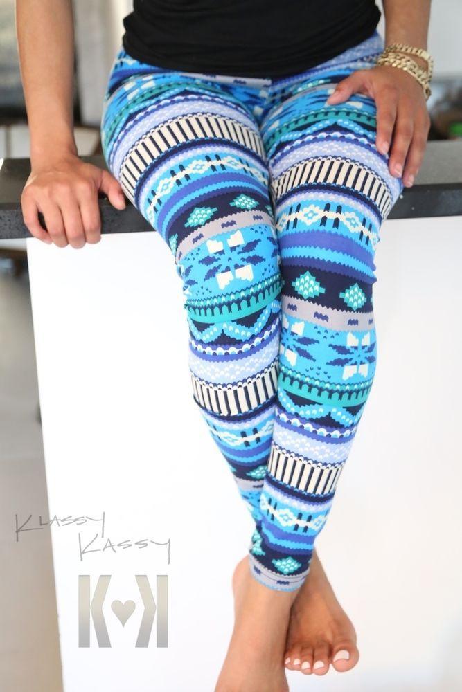 Blue Winter Snow Tribal Nordic Reindeer Aztec Pants Tights Legging Skinny +VIDEO #KlassyKassy