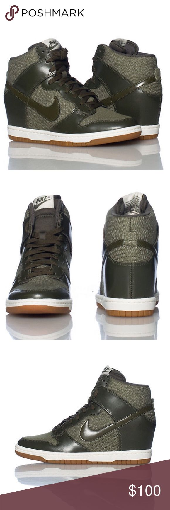 NIKE Dunk Sky Hi Essential Wedge Sneaker New Without box, only tried on and worn indoors High top women's wedge sneaker  Lace up closure  Mesh for breathability  Padded tongue with NIKE logo  Cushioned inner sole  Greyish khaki color Nike Shoes Sneakers