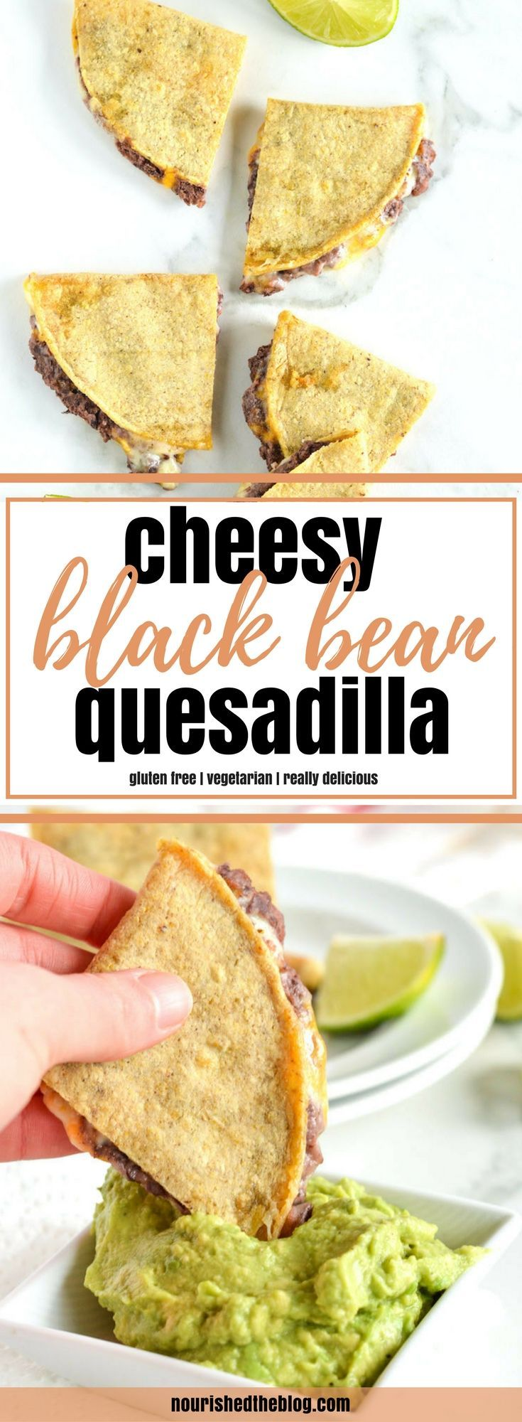Looking for a way to make taco night exciting again? You have to try these Cheesy Black Bean Quesadillas! This healthier quesadilla recipe is super easy to make. Spicy black beans and melty cheese inside corn tortillas served with salsa and mashed avocado is the best type of gluten free and vegetarian comfort food.