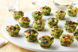 Mini Spinach-Artichoke Frittatas - Wow! Don't like artichokes but I can see this made a hundred different ways and so easy. In fact, this is going to replace the traditional deviled eggs on my appetizer table for Thanksgiving. A lot less work!