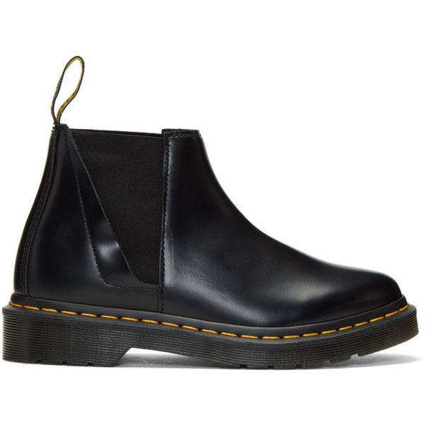 Dr. Martens Black Bianca Chelsea Boots (€135) ❤ liked on Polyvore featuring shoes, boots, ankle booties, black, black leather booties, leather booties, shiny leather boots, black shiny boots and black leather ankle booties