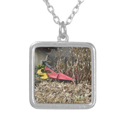 Combine harvesting corn crop in cultivated field silver plated necklace - jewelry jewellery unique special diy gift present