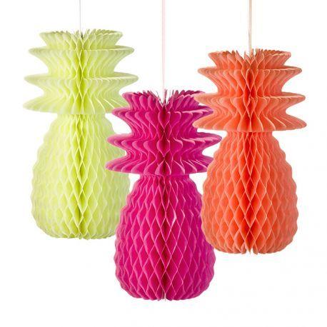 Ananas alvéolés fluo #tropical #neon #fluo #deco #party #fete #sweettable #kids #anniversaire www.rosecaramelle.fr