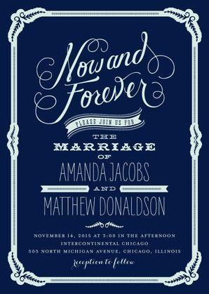 Finally Forever - Signature White Wedding Invitations - Elk Design - Baltic - Blue : Front