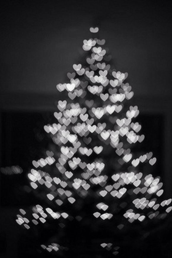White Christmas tree with heart lights