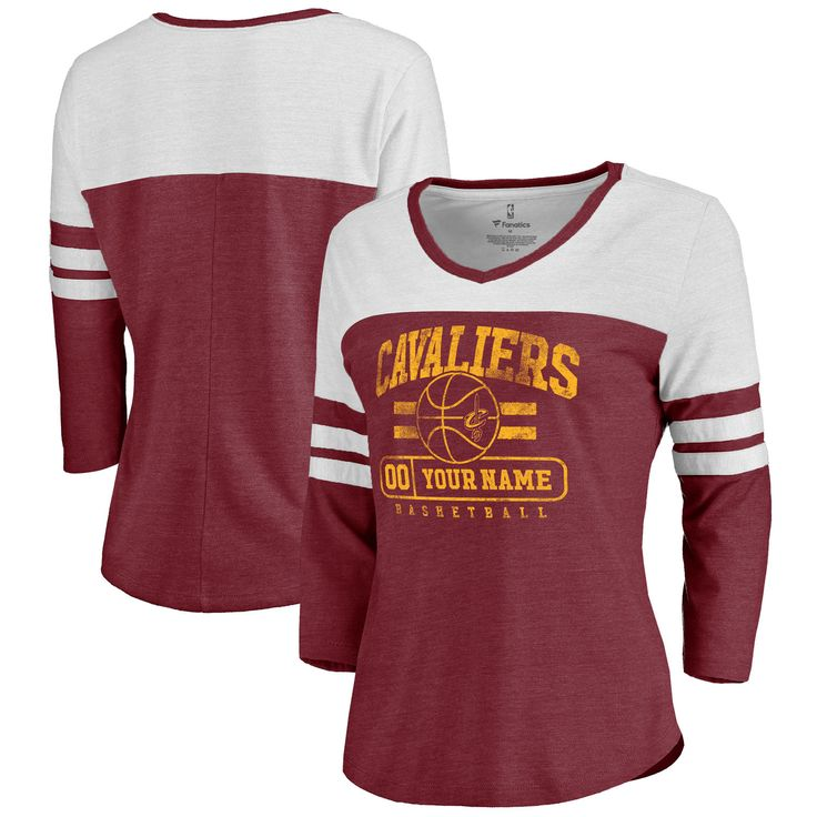 Women's Cleveland Cavaliers Fanatics Branded Maroon Personalized Baseline Three-Quarter Sleeve T-Shirt