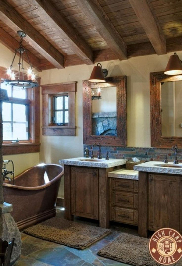 Rustic master bathroom with log walls amp undermount sink zillow digs - 46 Bathroom Interior Designs Made In Rustic Barns