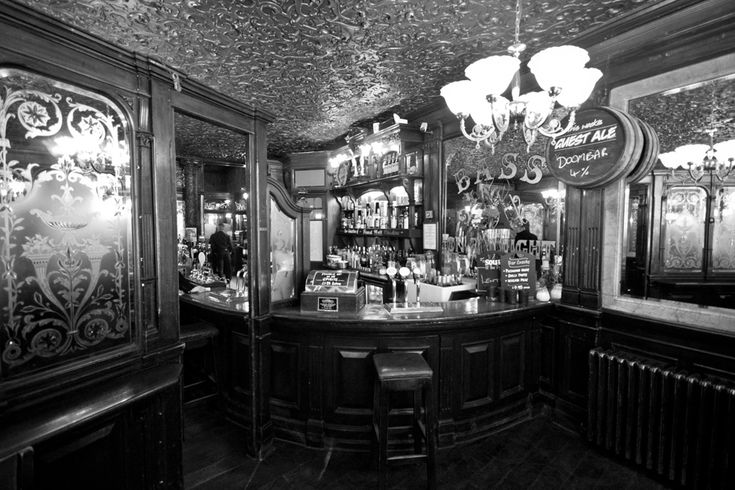 A great example of a Victorian pub interior, complete with wallpapered ceiling
