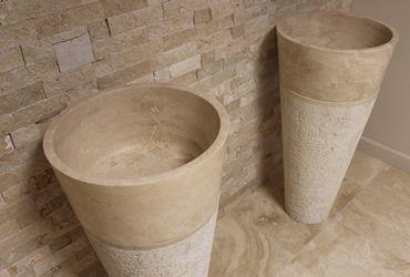 Classic Travertine Pedestal Basin