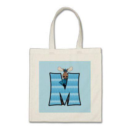 Moose for Monogram M Boys Blue Tote Bag - diy cyo personalize design idea new special custom