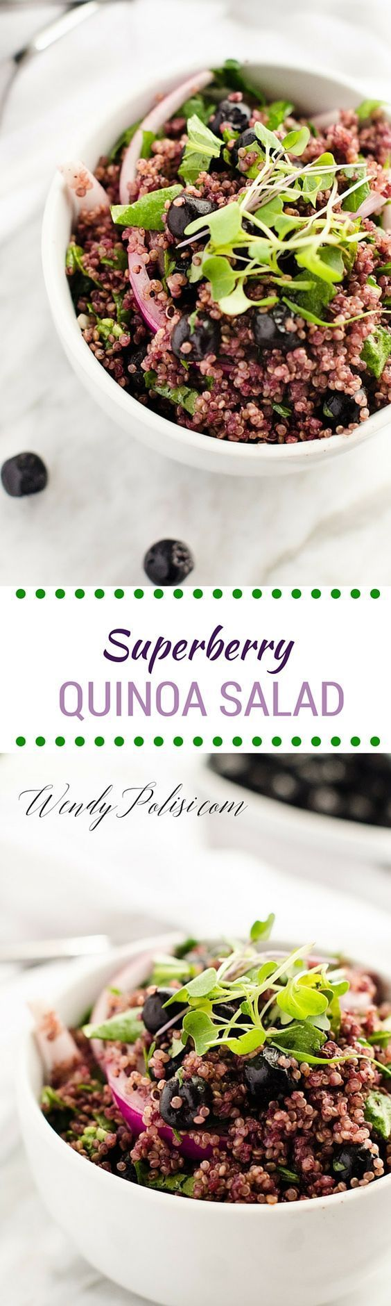 This Superberry Quinoa Salad is the perfect way to fuel your day.  With the nutritional powerhouses of aroniaberries and quinoa, this superfood salad is truly sensational.  #EatPurple #ad