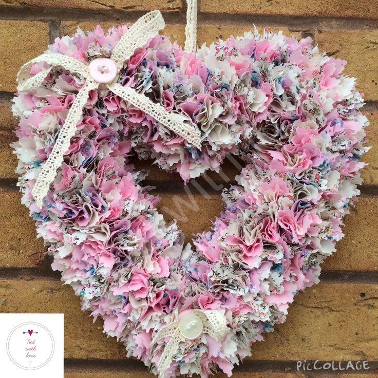 Vintage pink heart wreath #htlmp #materialwreath #handmadeuk www.facebook.com/tiedwithlovewreaths @htlmp