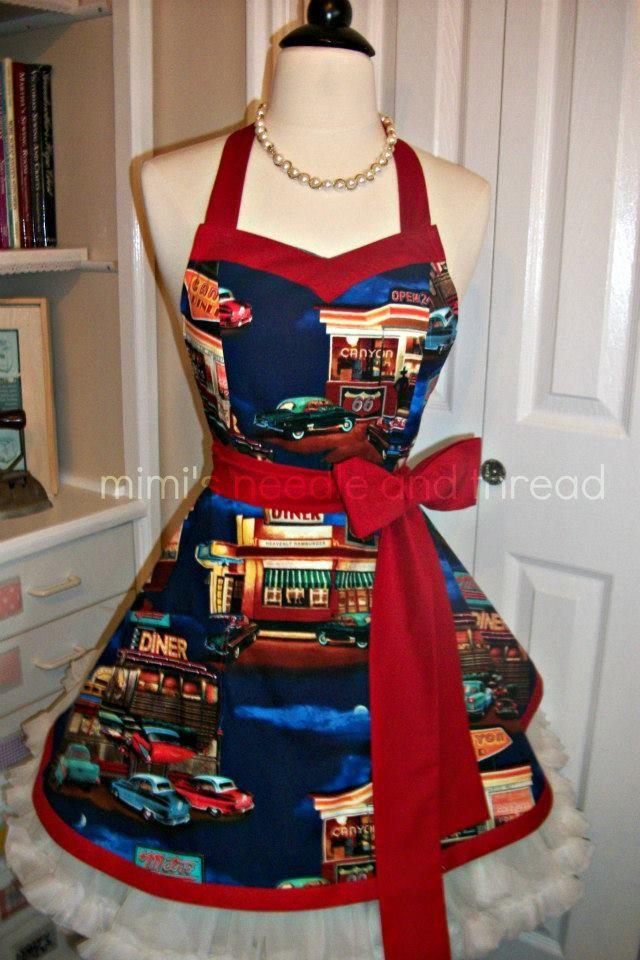 retro diner apron mimi's needle and thread