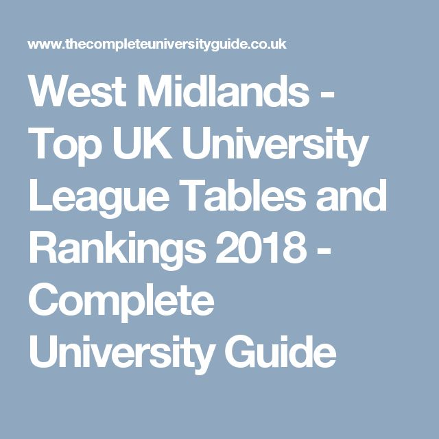 West Midlands   Top UK University League Tables And Rankings 2018    Complete University Guide