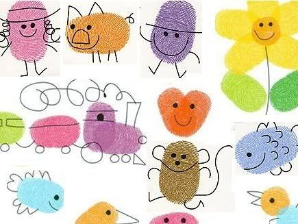 Thumbprint pictures. Easy fun crafts for kids