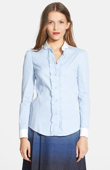 RED Valentino Ruffled Placket Stripe Poplin Blouse save -65% today on http://2for1.pro/women-clothing-tops/red-valentino-ruffled-placket-stripe-poplin-blouse/702057