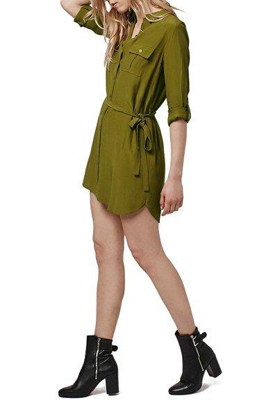 Topshop 'Posh' Belted Shirtdress (Petite)