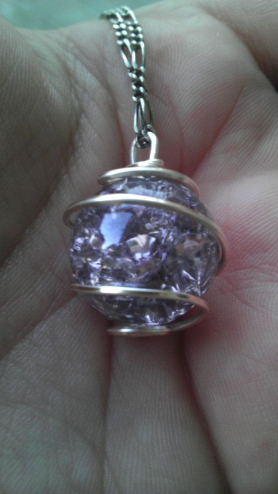 Fried Marble Wire Wrapped Pendant-Lavender by StringNRings on Etsy