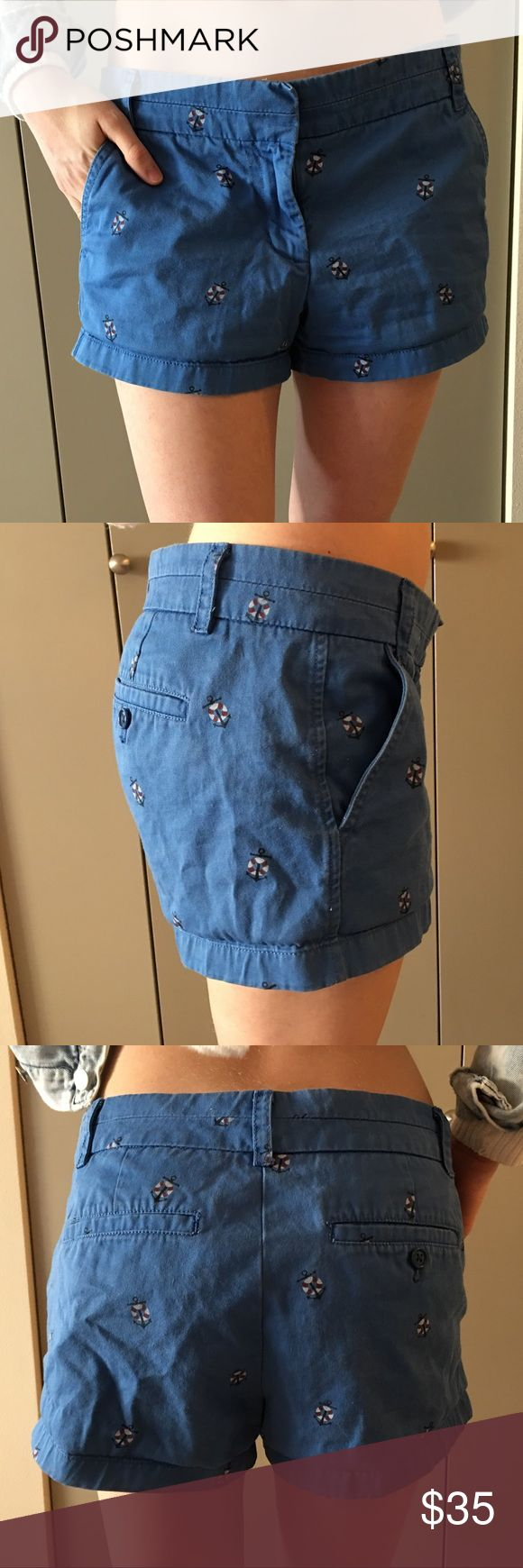 J. Crew Chino Nautical Shorts Size 6. No stretch. Anchor detail. Gold zipper and clasp. J. Crew Shorts