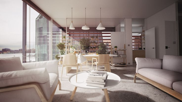 The architectural visualization of Krøyers Plads interior / NODE Visual