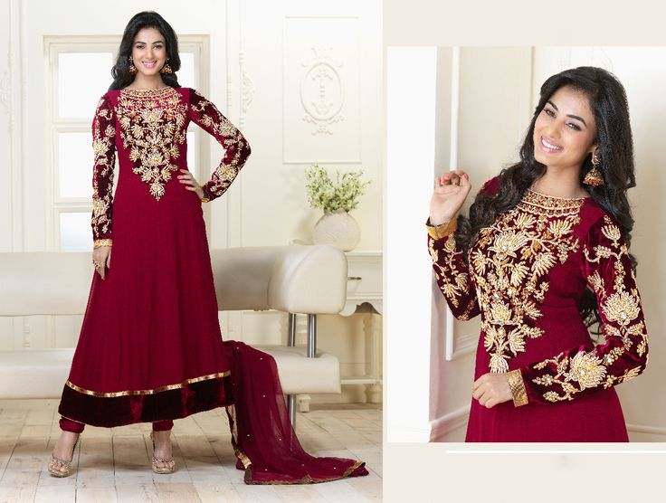 Buy this designer suit from Eid Collections Color :-Maroon FABRIC :- Pure Viscose Georgette   WORK :- Zari, resham embroidery butta work and hand work Price :- $166.28  For more Details visit : http://jugniji.com/suits/eid-special-suits-1/eid-special-suits1-2783.html