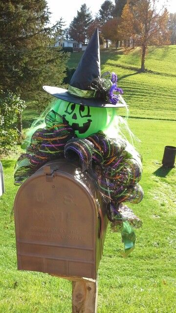 Halloween #mailbox decor#  witch hat