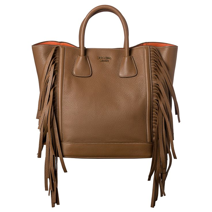 buy authentic prada online - Prada 'Cervo' Camel Leather Side Fringe Tote Bag by Prada | Side ...