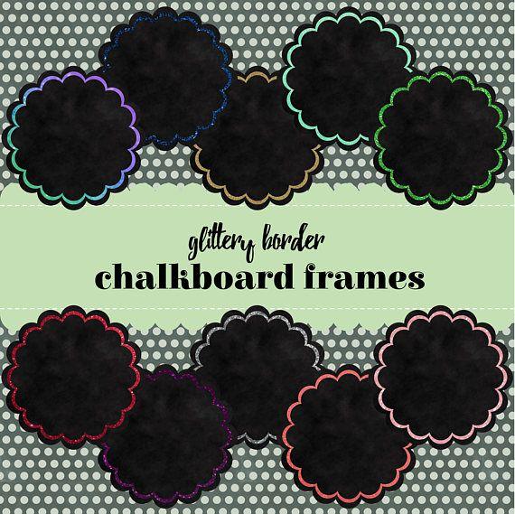 10 Glitter Border Chalkboard Frame Clip Art. Round Scallop