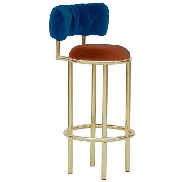 1920s Style Polished Brass And Velvet Bar Stool West Egg 2 613