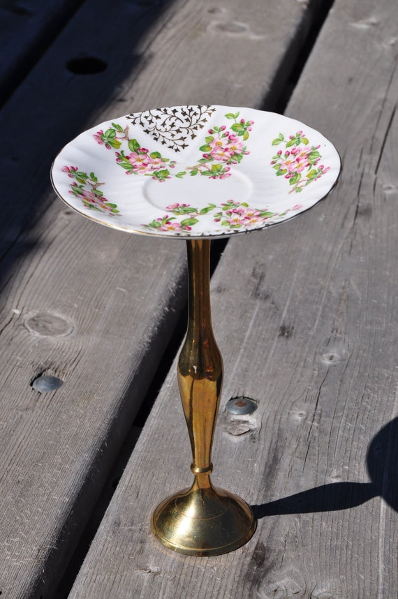 Jewelry Stand  Brass Base and Vintage Plate with by HauteHomeDecor, $18.00