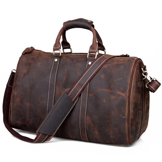 Men's Handmade Vintage Leather Travel Bag / Luggage / Duffle Bag / Sport Bag / Weekend Bag #n66-2 - Thumbnail 2