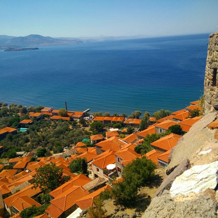 The stunning view from the castle on top of the hill of Molyvos (Lesvos, Greece)