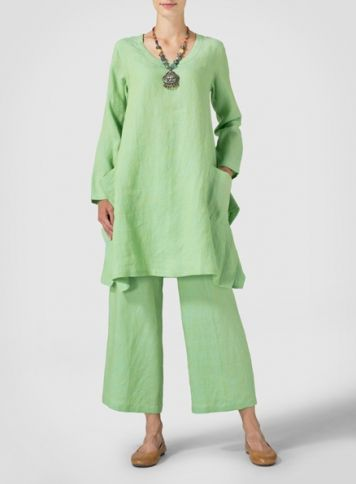 Two Tone Green Linen Long Sleeve Top
