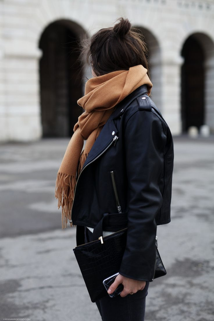 black leather jacket + white shirt + skinny jeans wide legged loose pants + camel oversized scarf/hijab + clutch