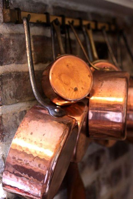 Copper pots.