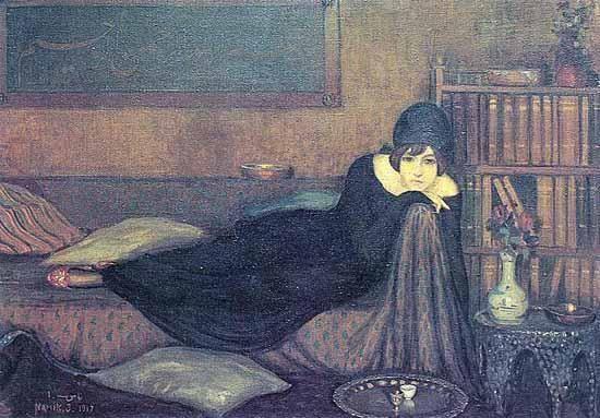 Namık İSMAİL - Sedirde uzanan kadin, 1917 - Turkish Paintings