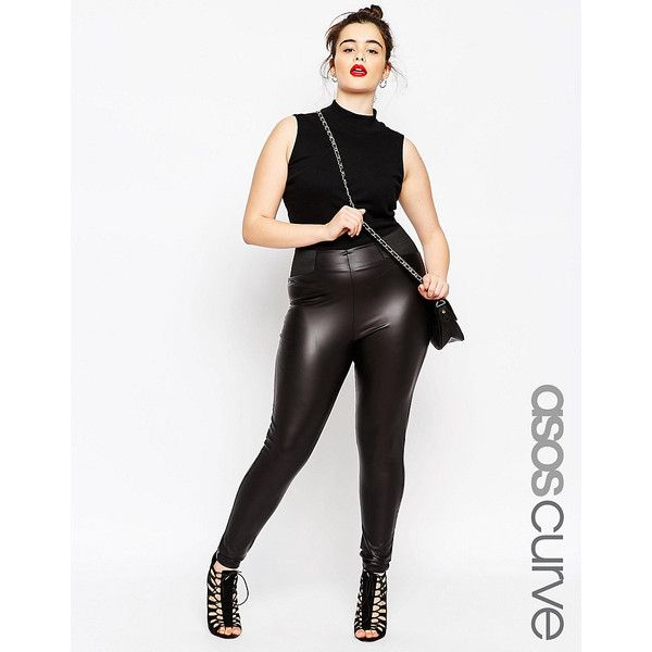 ASOS CURVE Leather Look Leggings With Elastic Slim Waist (240 DKK) ❤ liked on Polyvore featuring pants, leggings, black, plus size, slimming leggings, plus size leggings, tall pants, plus size faux leather leggings and plus size stretch pants