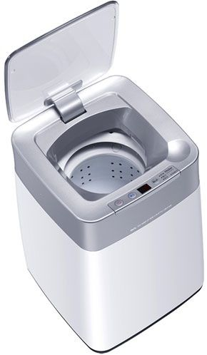 "Haier MW-BQ8S Mini • About $157.00 • Haier You can forgive me for somehow missing the Haier MW-BQ8S Mini at CES 2012 earlier this year. The 26 x 28 x 38 cm compact washing machine is about the size of a medium sized kitchen waste bin (photo for size reference), so it's easy to mistake it for anything but a washing machine. Inside, the top loading MW-BQ8S washes smaller items with an ""ozone sterilization"" mode with three washing programs. No word yet whether this space saving, apartment…"