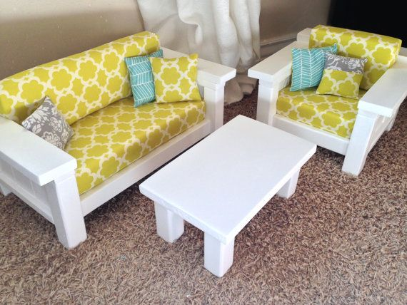 "American Girl Doll Furniture. 3 pc Living room set: Couch, Chair, Coffee Table. For 18"" dolls Mustard Quatrefoil"