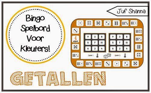 Bingospelbord voor kleuters: dobbelstenen en cijfers